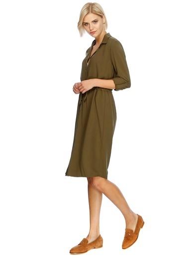 Beli Büzgülü Uzun Kollu Elbise-Limon Company